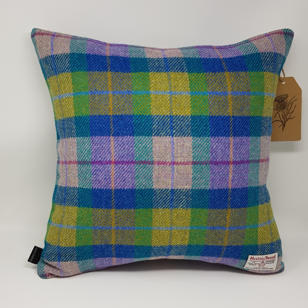 Modern tartan check handmade Harris Tweed cushion cover blue with green glen check all sizes